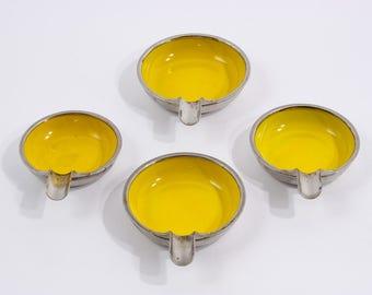 Vintage mid century ashtrays set of 4 yellow ashtrays sixties vintage design