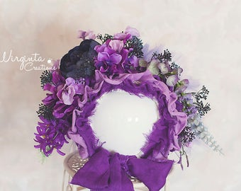Flower bonnet for 12-24 months old baby.Purple. Only one available.Photo prop. Ready to send