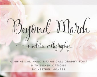 Calligraphy Font by Kestrel Montes, Beyond March Modern Calligraphy Font with Swashes, Web Font, Digital Font Download, Invitation Font