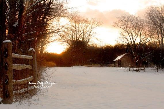 Sunset Farm Scene Sutton MA 5x7 8x10 11x14