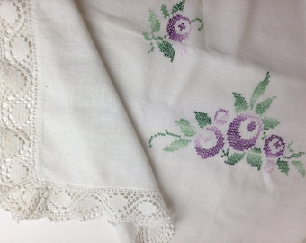 "Embroidered Tablecloth 55"" x 50"" / Hand made Lace borders / Hand cross stitched / Vintage Sweden"
