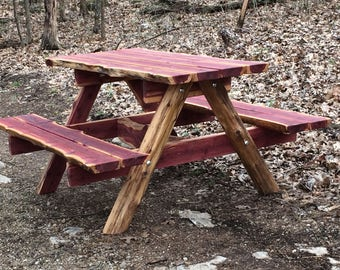 5 Ft Live Edge Eastern Red Cedar Picnic Table   Rustic Unique Picnic Table    Live