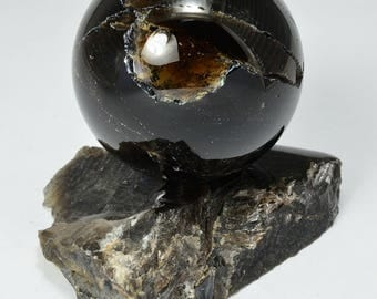 MORION sphere 62 mm with stand specimen #8044 smoky quartz - Ukraine