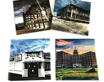 Asbury Park New Jersey Coaster Set / Iconic Berkley Hotel, The Stone Pony, Convention Hall, Casino /Ceramic Drink Coaster Set of 4