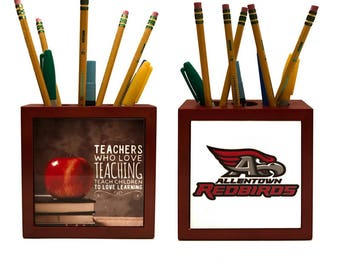 Gift For Teacher / Double Sided Wooden Pencil Box Holder / Office Desk Decor