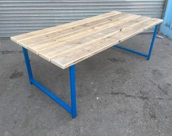 reclaimed industrial chic custom outside outdoor garden picnic table in blue set bar restaurant cafe furniture