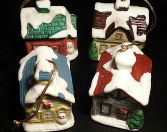 Homco Home Interiors, set of four house/church vintage ornaments.