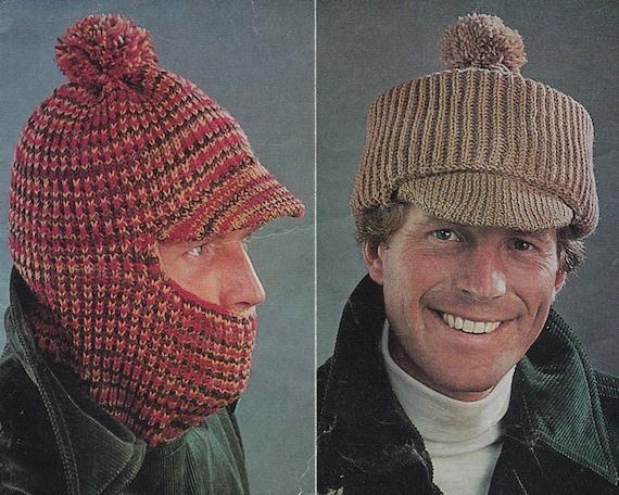 Peaked Cap Knitting Pattern : Vintage knitting pattern mens hat hats balaclava peaked