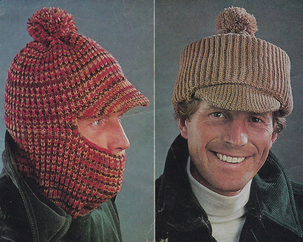 Vintage knitting pattern mens hat hats balaclava peaked cap pdf this is a digital file bankloansurffo Images