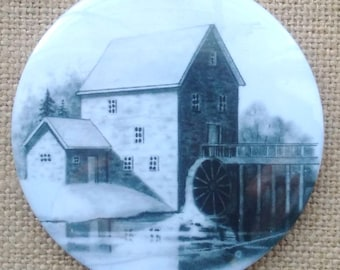 Old Mill Art Fridge Magnet, Original Drawing, Stone Grist Mill, Rustic, Country, Pencil Art, Flour Mill, Realism Art, 3-Inch Round Magnet