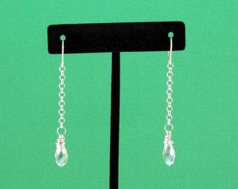Crystal Teardrop Earrings, Wire Wrapped Earrings, Silver Crystal Earrings, Crystal Drop Earrings, Wire Wrapped Briolette Earrings, Teardrops