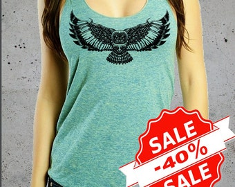 Sale! Womens Owl Shirt Tank Top-Women's Clothing Owls Top Active Tops-American Apparel Shirt-Native American S M L(Multiple Colors Available
