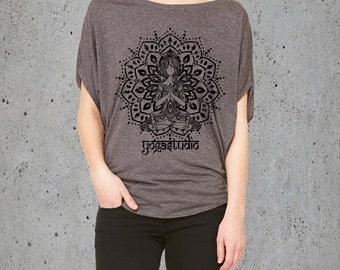 Womens YOGA STUDIO Mediation Medallion Shirt)Flowy Tunic Slouchy Yoga Shirt-Yoga Clothes-Clothing-Girlfriend Gift-Birthday Gifts
