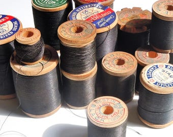 Thread / Vintage Group of Wooden Spools of Black Thread / Assortment of 15 / Clarks / Belding