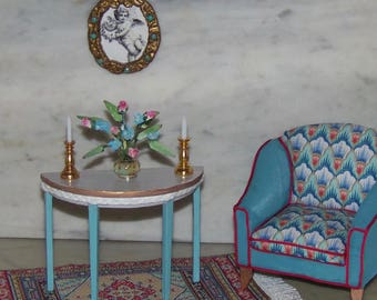 Table for 1:12th Dollhouse.  Side Table, Half Round, Painted Gray, White, Aqua with Gold.