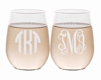 Monogram Wine Glasses/Etched Wine Glasses/Personalized Wine Glasses/Bridesmaid Wine Glass/Etched Wine Glass/Stemless Wine Glass/Monogrammed