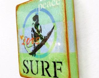 "Aqua/Blue/Green - ""PeaceLoveSURF"", BEACH,Ocean,surf board SURFERgirl/boy, wave rider, high gloss resin coat on solid,light hollow cradle."