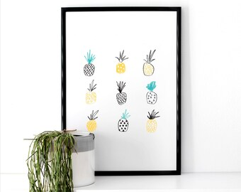 Pineapple Illustrative Print