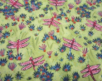 Green Dragonfly Cotton Fabric Called September Light Designed by Lida Enche for In The Beginning Fabrics