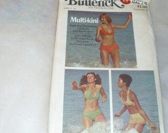 Butterick 6674 / Misses Swimsuit Pattern / Multi-Kini / Sizes 6-16 / Top and Bottom Patterns / Uncut FF Pattern