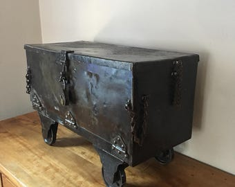 Truly unique antique 1800's iron railroad tool box on casters