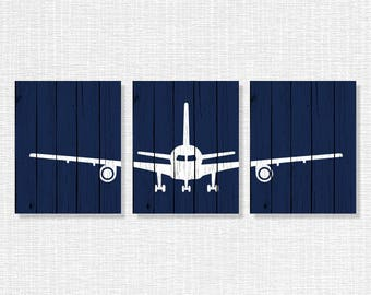 Navy Blue and White Airplane Wooden boards Silhouette Wall Art, Airplane Nursery Wall decor Set of 3, 8x10, INSTANT DOWNLOAD