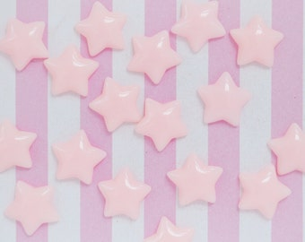17mm Kawaii Pastel PINK Star Decoden Cabochons - 12 piece set