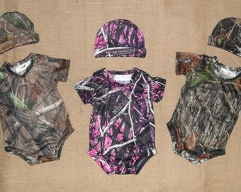 NEW ! Camo Newborn to 3 months  2 pc sets. onsie & hat  10 colors to choose from
