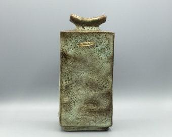 Dutch Vest Keramiek  /  van Woerden Gouda stylish Vintage 1960s  Fat Lava Ceramic  vase with uncommon color glaze.