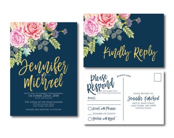 Floral Wedding Invitation Suite, RSVP Postcard, Wedding Invite Suite, RSVP Card, Watercolor Invitation Set, 2 Piece Wedding Suite #CL322