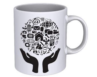 Hands holding icons - Coffee Mug - Best Gift !!!