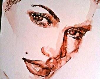 Portrait watercolor on demand Kate Winslet