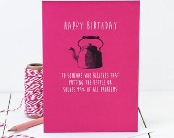 Birthday Card For A Friend; Happy Birthday; Fuchsia Pink Birthday Card; Birthday Card For Mums; GC468