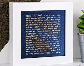 What Is Love Print; Anniversary Gift; Gift For Her; Love You Gift; Gift For Wife; Gold Foil Print; Blue Print; FMS030