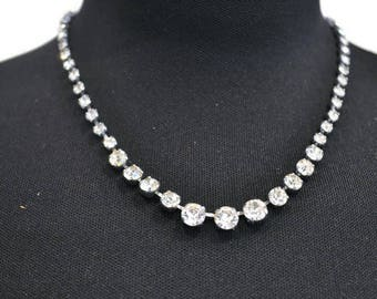 1950's Rhinestone Necklace // Vintage Sparkly Faux Diamond Necklace // Prom Necklace
