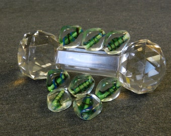 Set of 8 Clear Encasing Green Diamond Shaped Lampwork Beads - 20mm - Blue & Black Accents