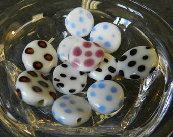 Set of 11 Mulit-Colored Leopard Print and Polka Dot Round Disk Glass Lampwork Beads - 12-15mm - Handmade - Pink, Blue, Black, White