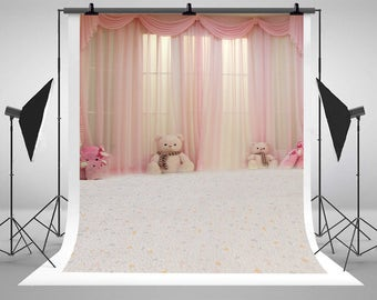 Pink Curtain Toy Bears Carpet Photography Backdrops Newborn Baby Indoor Photo Backgrounds for Children Studio Props