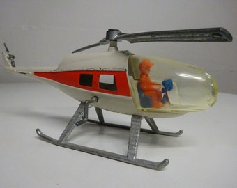 Vintage 1975 Red and White Die Cast Metal Helicopter Toy made by Gabriel  FREE SHIPPING