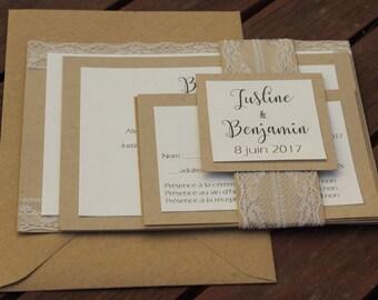 Invitation range   Angelova   lace and kraft