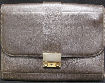 Authentic Vintage Christian Dior Brown Leather Folding Clutch Case
