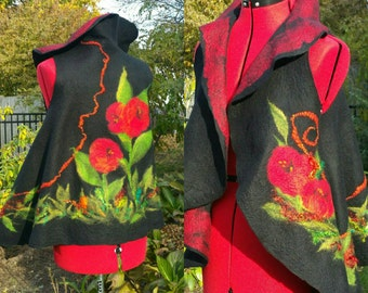 Nuno Felted Vest in Black with Red Poppies. Felted Wearable Fiber Art Clothing. Sleeveless Boho Nuno Felt Jacket. Unique Ladies Gift.
