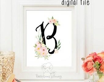 Personalized letter, Printable monogram print, Calligraphy art, Pastel colors, baby girl nursery, letter monogram art, floral letter initial