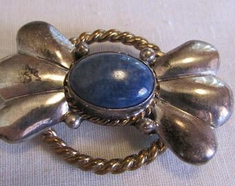 Navajo Richard Song Sr Sterling Silver Denim Lapis Pin/Pendant