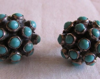 Wonderful Sterling Silver and Turquoise Domed Cluster Screw Back Earrings