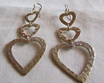 Hammered Sterling Silver 3 Hearts Dangle Wire Earrings
