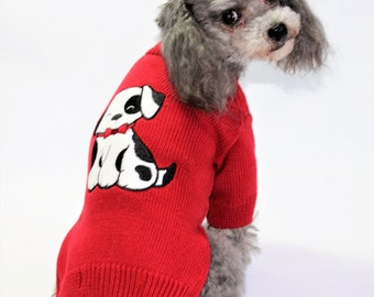Dog SWEATER Small Upcycled Red Puppy