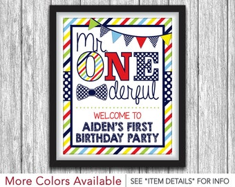 """Mr. ONEderful Party Sign - Printable Mr One-derful Birthday Party Decorations - 8""""x10"""" Welcome Sign - DIY Digital File"""