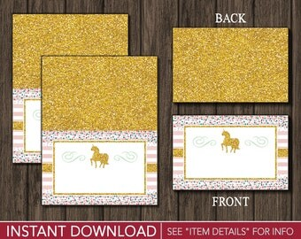 Unicorn Tent Cards - Buffet Cards - Food Labels - Place Cards - Printable Digital File - INSTANT DOWNLOAD