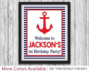 "Nautical Party Sign - Printable Anchor Birthday Party Decorations - 8""x10"" Welcome Sign - DIY Digital File"